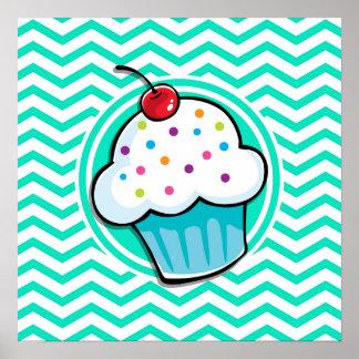 Petit gâteau mignon Aqua Chevron vert Posters