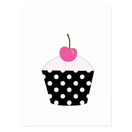 Petit gâteau noir et blanc de point de polka avec  carte postale