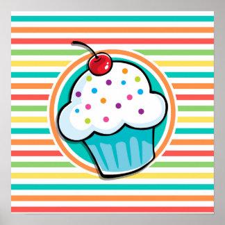 Petit gâteau Rayures lumineuses d arc-en-ciel Affiches