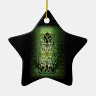 Petit homme vert ornement étoile en céramique