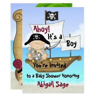 Petit invitation mignon de baby shower de pirate