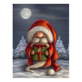 Petit Père Noël avec un cadeau Carte Postale
