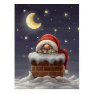 Petit Père Noël dans une cheminée Carte Postale