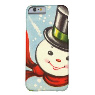 Petit rétro bonhomme de neige mignon coque iPhone 6 barely there
