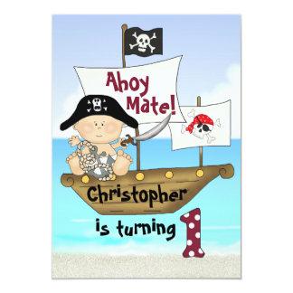 Petite ?ère invitation de pirate d'anniversaire de carton d'invitation  12,7 cm x 17,78 cm
