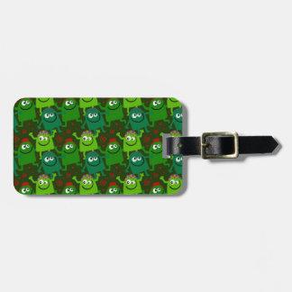 Petite étiquette mignonne de bagage d'hommes verts étiquette pour bagages