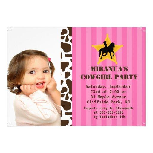 Petite fête d'anniversaire de cow-girl de photo invitations personnalisables