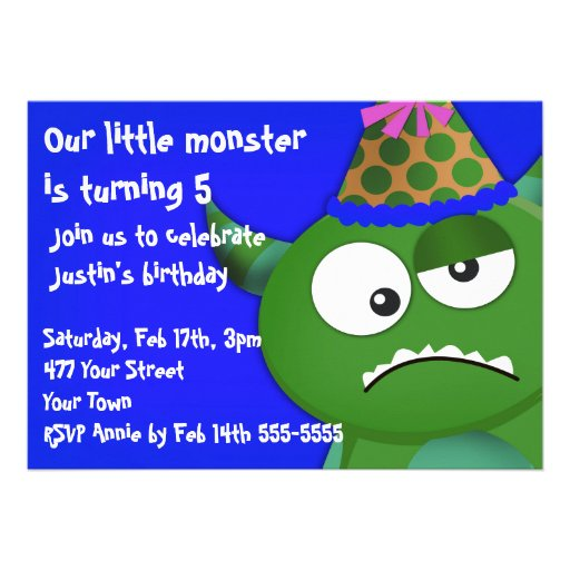 Petite fête d'anniversaire de monstre invitations