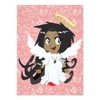 Petite fille mignonne d'ange carton d'invitation  13,97 cm x 19,05 cm