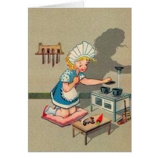 Petite fille vintage jouant la carte de note de