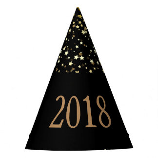 Petite Golden Stars 2018 New Years Hat-Black Party Hat