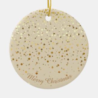 Petite Golden Stars Christmas Ornament-Beige Ceramic Ornament