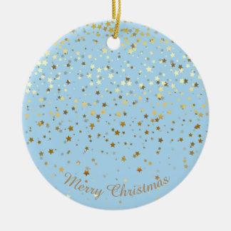 Petite Golden Stars Christmas Ornament-Blue Ceramic Ornament