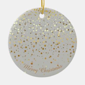 Petite Golden Stars Christmas Ornament-Grey Ceramic Ornament