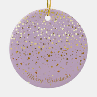 Petite Golden Stars Christmas Ornament-Lavender Ceramic Ornament