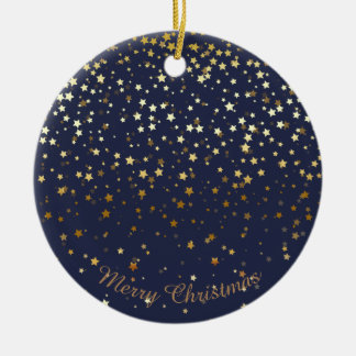 Petite Golden Stars Christmas Ornament-Midnight Ceramic Ornament