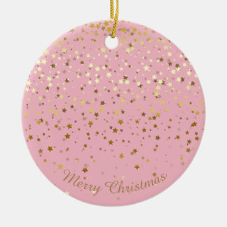 Petite Golden Stars Christmas Ornament-Pink Ceramic Ornament