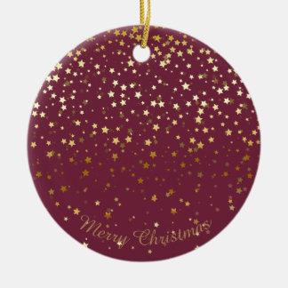Petite Golden Stars Christmas Ornament-Plum Ceramic Ornament