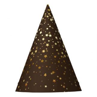 Petite Golden Stars Party Hat-Espresso Brown Party Hat