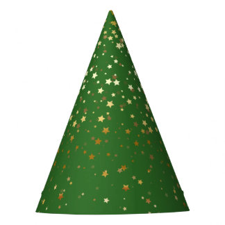 Petite Golden Stars Party Hat-Green Party Hat