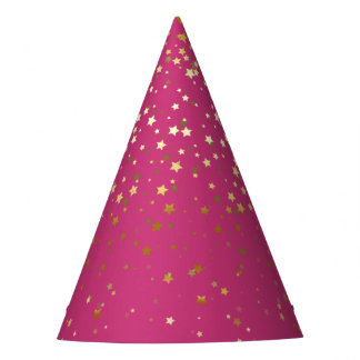 Petite Golden Stars Party Hat-Magenta Party Hat
