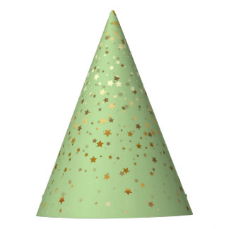 Petite Golden Stars Party Hat-Pastel Green Party Hat