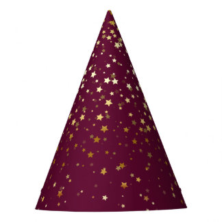 Petite Golden Stars Party Hat-Plum Berry Party Hat