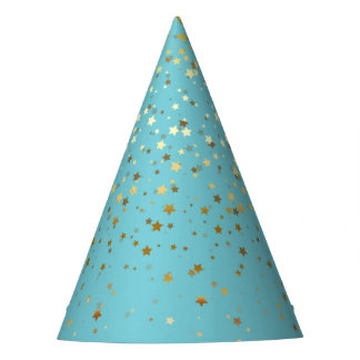 Petite Golden Stars Party Hat-Robin's Egg Blue Party Hat