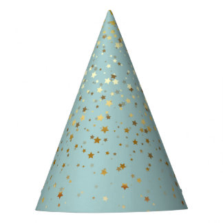 Petite Golden Stars Party Hat-Silver-Bay Party Hat