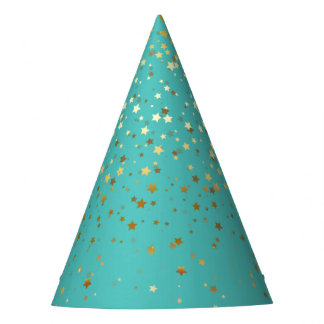 Petite Golden Stars Party Hat-Turquoise Sea Party Hat