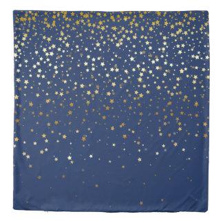 Petite Golden Stars Queen Size Duvet Cover-Dp Blue