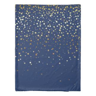 Petite Golden Stars Twin Size Duvet Cover-Dp Blue