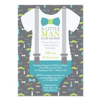 Petite invitation de baby shower d'homme, Teal,