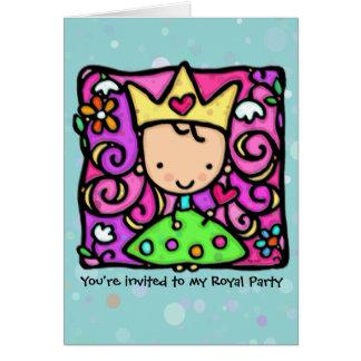 Petite invitation royale de princesse partie carte de correspondance
