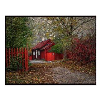 Petite maison rouge carte postale