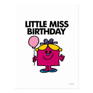 Petite Mlle Birthday With Pink Balloon Cartes Postales