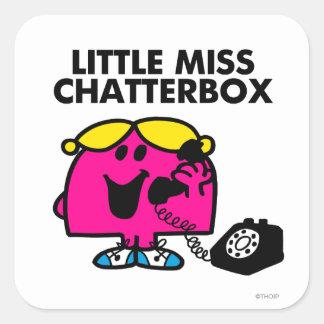 Petite Mlle Chatterbox et téléphone noir Sticker Carré