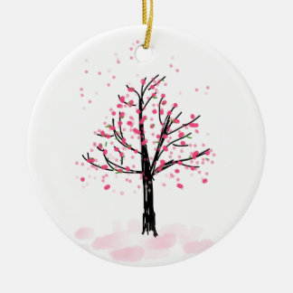 Petite Pink Cherry Tree - Hand Drawn Sketch Round Ceramic Ornament
