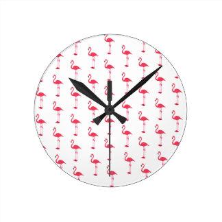 Petite Pink Flamingos Pattern Wall Clock