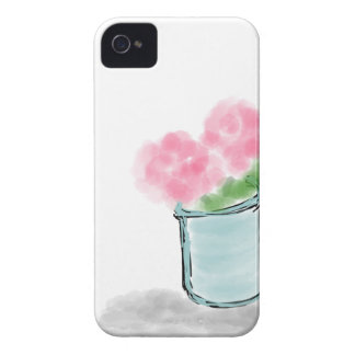 Petite Pink Flower Pot - Hand Drawn Sketch iPhone 4 Case-Mate Case