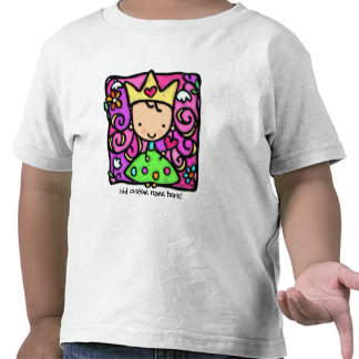 Petite princesse girly. Couronne, robe, fleurs de  T-shirt