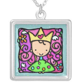 Petite princesse mignonne en pois vert de robe colliers personnalisés
