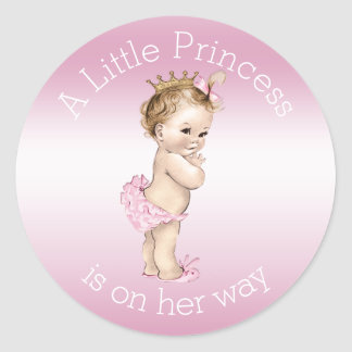 Petite princesse rose baby shower sticker rond