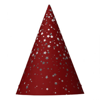 Petite Silver-Gray Stars Party Hat- Crimson Red Party Hat