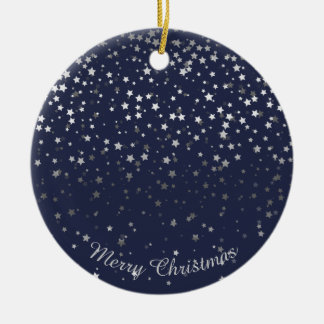 Petite Silver Stars Christmas Ornament-Midnight Ceramic Ornament