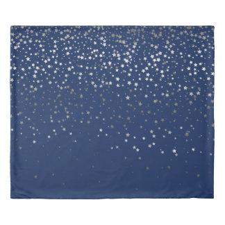 Petite Silver Stars King Size Duvet Cover-Dp Blue