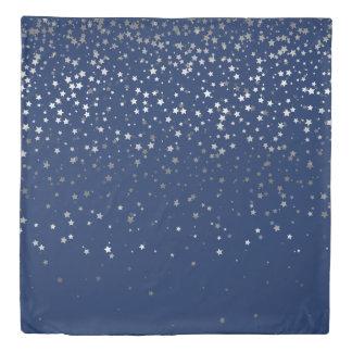 Petite Silver Stars Queen Size Duvet Cover-Dp Blue