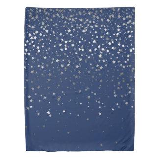 Petite Silver Stars Twin Size Duvet Cover-Dp Blue
