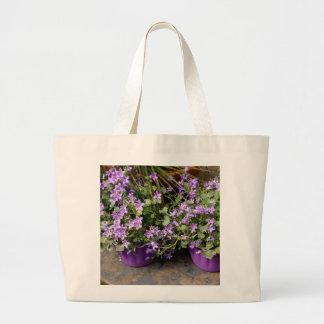Petites fleurs pourpres sac en toile jumbo