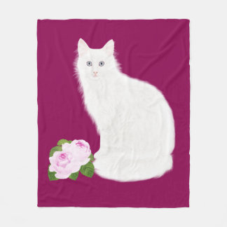"PetitRose ""White Cat"" , Fleece Blanket"